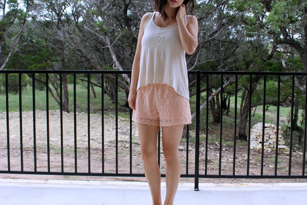 Cream Tank Peach Lace Shorts