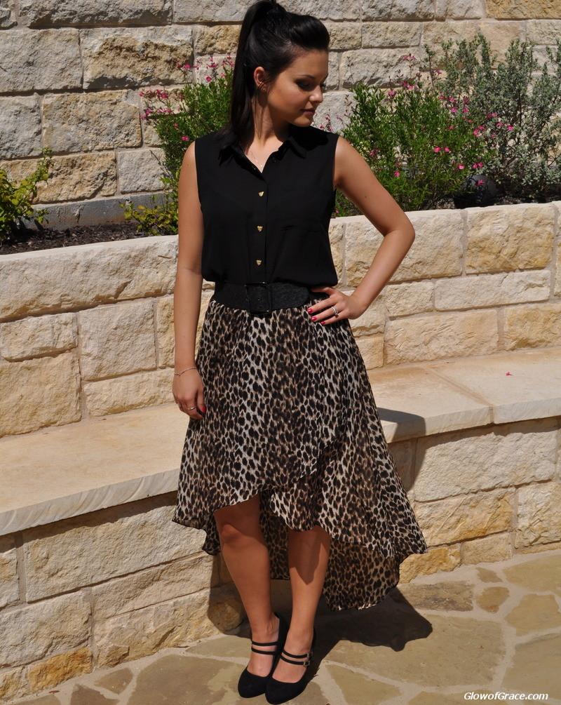 Leopard Skirt & Black Sleeveless Blouse